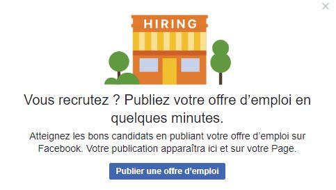 Publier une offre d'emploi sur Facebook